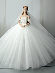 cheap -Doll Dress Wedding For Barbiedoll White Tulle Lace Cotton Blend Dress For Girl's Doll Toy