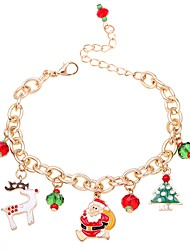 cheap -Women's Chain Bracelet Pendant Bracelet Classic Deer Christmas Tree Ladies Fashion Folk Style Alloy Bracelet Jewelry Red For Christmas Carnival