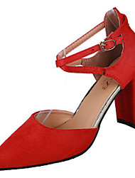 cheap -Women's Heels Pumps Chunky Heel Pointed Toe PU Fall Red / Green / Black / Party & Evening / Party & Evening