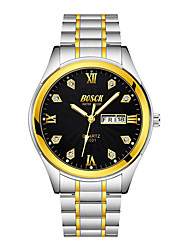 cheap -BOSCK Men's Mechanical Watch Stainless Steel Gold 30 m Water Resistant / Waterproof Calendar / date / day Analog Classic Casual World Map - Gold White Black One Year Battery Life
