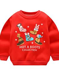 abordables -Bébé Fille Basique Noël Imprimé Noël Manches Longues Coton Pull à capuche & Sweatshirt Rouge