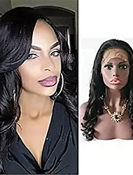 cheap -Remy Human Hair Full Lace Lace Front Wig Asymmetrical style Brazilian Hair Loose Curl Black Wig 130% 150% 180% Density with Baby Hair Women Easy dressing Sexy Lady Natural Women's Very Long Human