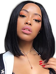 cheap -Human Hair Lace Front Wig Bob style Brazilian Hair Burmese Hair Straight Natural Natural Black Wig 130% Density with Baby Hair Women Easy dressing Best Quality Hot Sale Women's Short Human Hair Lace