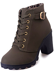 cheap -Women's Boots Combat Boots Chunky Heel PU Mid-Calf Boots Casual Fall Black / Brown / Wine
