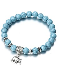 cheap -Women's Turquoise Bead Bracelet Pendant Bracelet Stylish Beads Elephant Ladies Vintage Fashion Cord Bracelet Jewelry Blue For Going out Bar