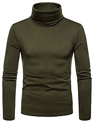 cheap -Men's Daily T-shirt - Solid Colored Turtleneck Navy Blue / Long Sleeve