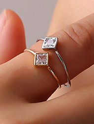 cheap -Women's Ring Tail Ring Onyx Crystal 1pc Gold Silver Austria Crystal Alloy Square Ladies Simple Geometric Daily Going out Jewelry Stylish Solitaire Creative Cute
