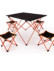 cheap -BEAR SYMBOL Camping Folding Table with Stools Portable Anti-Slip Ultra Light (UL) Foldable Oxford Cloth 7075 Aluminium 4 Stools 1 Table for Fishing Camping Autumn / Fall Spring Orange