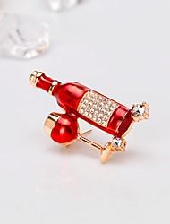abordables -Femme Broche Classique Européen Mode Broche Bijoux Rouge Pour Cadeau Quotidien
