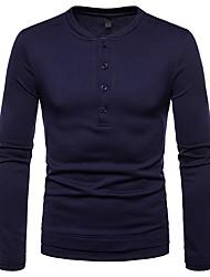 abordables -Tee-shirt Homme, Couleur Pleine Basique Col Arrondi Gris Foncé / Manches Longues