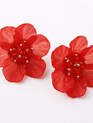 cheap -Women's Stud Earrings Classic Flower Ladies European Sweet Fashion Earrings Jewelry Black / Red / Blue For Causal Daily 1 Pair