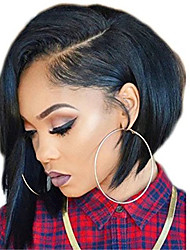 cheap -Remy Human Hair Full Lace Lace Front Wig Asymmetrical style Brazilian Hair Straight Black Wig 130% 150% 180% Density with Baby Hair Women Easy dressing Natural Adorable Women's 8-14 Human Hair Lace