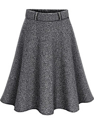 cheap -Women's Going out Swing Skirts - Solid Colored High Waist Black Dark Gray M L XL