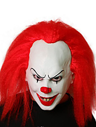 cheap -Synthetic Wig Cosplay Wig Joker Pennywise Curly Bob Wig Medium Length Blue Red Synthetic Hair 14 inch Men's Cosplay Funny Red Blue