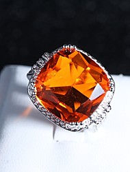 cheap -Women's Statement Ring Ring 1pc Orange Copper Rhinestone Platinum Plated Four Prongs Ladies Classic Hyperbole Party Festival Jewelry Vintage Style Solitaire Creative Lucky Cocktail Ring Cool