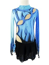 cheap -Figure Skating Dress Women's Girls' Ice Skating Dress Blue Peacock Halo Dyeing Spandex Micro-elastic Professional Competition Skating Wear Handmade Sequin Long Sleeve Figure Skating