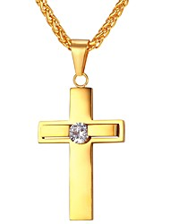 cheap -Men's AAA Cubic Zirconia Pendant Necklace Classic Cross Classic Vintage Stainless Steel Gold Silver 55 cm Necklace Jewelry 1pc For Gift Daily