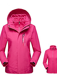 cheap -Women's Hoodie Jacket Hiking 3-in-1 Jackets Hiking Jacket Winter Outdoor Windproof Breathable Rain Waterproof Wear Resistance 3-in-1 Jacket Top Single Slider Camping / Hiking Ski / Snowboard Climbing