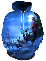 cheap -Men's Plus Size Basic / Exaggerated Long Sleeve Loose Hoodie - 3D / Character Print Hooded Blue S / Fall / Winter