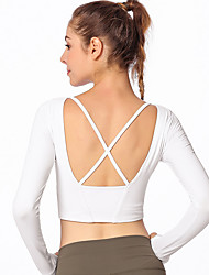 cheap -Women's Crew Neck Yoga Top Cross Back Solid Color Black White Red Zumba Running Dance Sweatshirt Crop Top Long Sleeve Sport Activewear Breathable Soft Sweat-wicking High Elasticity Slim