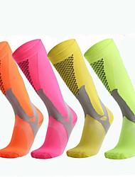 cheap -Compression Socks Long Socks Football Socks Athletic Sports Socks Cycling Socks Men's Bike / Cycling Cycling Camping & Hiking Non-Skid 1 Pair Winter Yarn Dyed Cotton Chinlon Black / Yellow Fuchsia