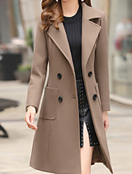 cheap -Women's Daily Basic Fall & Winter Long Trench Coat, Solid Colored Turndown Long Sleeve Polyester Light Brown / Army Green / Khaki