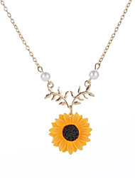 cheap -Women's Statement Necklace Stylish Sculpture Sunflower Flower Shape Ladies Sweet Elegant Resin Alloy Gold Silver 51+5 cm Necklace Jewelry 1pc / pack For Party Prom Promise