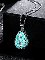 cheap -Women's Pendant Necklace Hollow Out Pear Magic Ladies Vintage Punk Silver Plated Alloy Light Blue 50 cm Necklace Jewelry 1pc For Party Halloween
