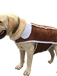 cheap -Dogs Cats Coat Jacket Winter Dog Clothes Brown Costume Husky Alaskan Malamute Golden Retriever Cotton Solid Colored Casual / Daily Warm Ups XS S M L XL XXL