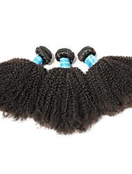 Недорогие -3 Связки Бразильские волосы Афро Не подвергавшиеся окрашиванию человеческие волосы Remy 350 g Человека ткет Волосы 8-26 дюймовый Нейтральный Ткет человеческих волос Лучшее качество 100% девственница
