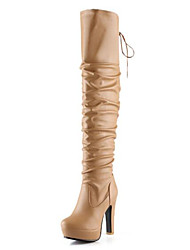 cheap -Women's Boots Over-The-Knee Boots Chunky Heel PU Over The Knee Boots Winter Yellow / Black / Beige / EU39