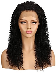 cheap -Remy Human Hair Lace Front Wig Middle Part style Brazilian Hair Curly Natural Black Wig 130% Density with Baby Hair Easy dressing Natural Unprocessed curling Women's Human Hair Lace Wig Factory OEM