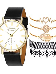 cheap -Women's Dress Watch Quartz Gift Set Leather Black / White / Brown Chronograph Creative Cool Analog Ladies Elegant Fashion - White Black Black / White One Year Battery Life