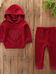 cheap -Baby Girls' Casual / Basic Daily / Holiday Solid Colored Embroidered Long Sleeve Regular Clothing Set Red / Toddler