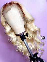 cheap -Remy Human Hair Lace Front Wig Middle Part style Peruvian Hair Wavy Wig 130% Density with Baby Hair Natural Hairline Bleached Knots Women's Long Human Hair Lace Wig beikashang