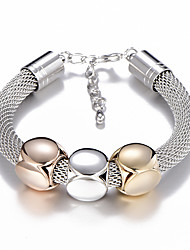cheap -Women's Chain Bracelet Braided Ladies Fashion 18K Gold Plated Bracelet Jewelry Gold / Silver For Street / Titanium Steel