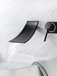 cheap -Bathroom Sink Faucet - Waterfall / New Design Painted Finishes / Black Wall Mounted Single Handle Two HolesBath Taps