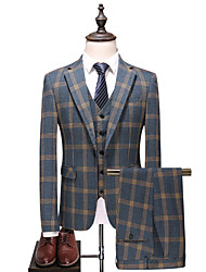 cheap -Men's Party / Daily Spring &  Fall Plus Size Regular Suits, Plaid Fantastic Beasts Peaked Lapel Long Sleeve Cotton / Polyester Gray