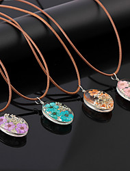 cheap -Women's Charm Necklace Retro Flower Shape Ladies Vintage Sweet Elegant Cord Resin Alloy Purple Blue Pink 44+5 cm Necklace Jewelry 1pc For Daily Going out