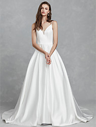 cheap -Ball Gown V Neck Chapel Train Satin Spaghetti Strap Made-To-Measure Wedding Dresses with 2020