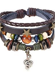 cheap -Men's Bead Bracelet Wrap Bracelet Leather Bracelet Braided Music Music Notes Unique Design Vintage Trendy Genuine Leather Bracelet Jewelry Brown For Daily Street / Loom Bracelet / Pendant Bracelet