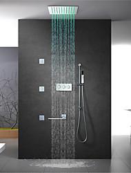 cheap -Shower Faucet Set - Rain Shower Contemporary Chrome Wall Mounted Brass Valve Bath Shower Mixer Taps