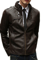 cheap -Men's Daily Basic Winter / Fall & Winter Regular Leather Jacket, Solid Colored Stand Long Sleeve PU Brown / Black / Light Brown