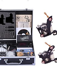 cheap -Professional Tattoo Kit Tattoo Machine - 2 pcs Tattoo Machines, Handmade / Relaxed Fit / Voltage Adjustable LCD power supply 2 steel machine liner & shader