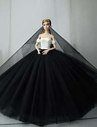 cheap -Doll Dress Dresses For Barbiedoll Black / White Tulle Lace Cotton Blend Dress For Girl's Doll Toy / Kids