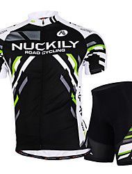 cheap -Nuckily Men's Short Sleeve Cycling Jersey with Shorts Black Bike Shorts Breathable Anatomic Design Sports Geometry Mountain Bike MTB Road Bike Cycling Clothing Apparel / Stretchy