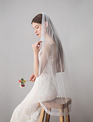 cheap -One-tier Vintage Style / Classic Style Wedding Veil Fingertip Veils with Solid Lace / Tulle / Drop Veil