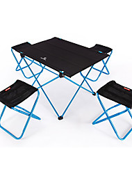cheap -BEAR SYMBOL Camping Folding Table with Stools Portable Anti-Slip Ultra Light (UL) Foldable Oxford Cloth 7075 Aluminium 4 Stools 1 Table for Fishing Camping Autumn / Fall Spring Blue Orange