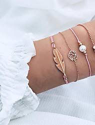 cheap -4pcs Women's Pearl Chain Bracelet Pendant Bracelet Layered Leaf Heart Lotus Ladies Simple Punk Romantic Korean Alloy Bracelet Jewelry Gold For Gift Daily Evening Party Going out
