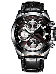 cheap -Men's Sport Watch Quartz Stainless Steel Quilted PU Leather Black / Silver Calendar / date / day Noctilucent Analog Casual - Silver Black / Red Silver / Black
